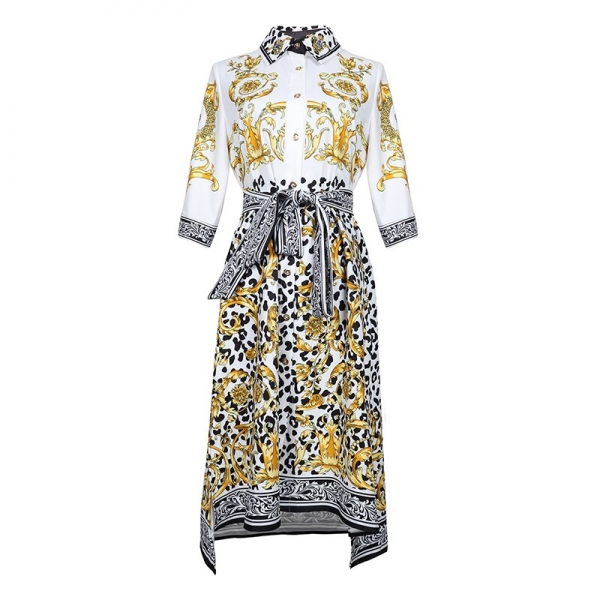 HIGH QUALITY New Fashion 19 Designer Runway Dress Women's Half Sleeve Retro Floral Print Dress