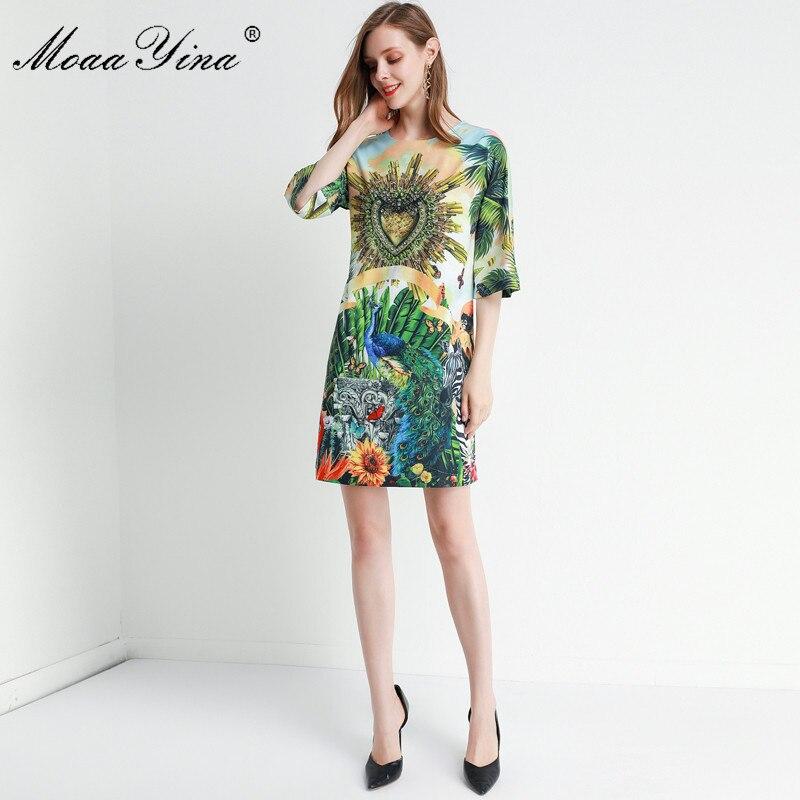 MoaaYina Fashion Designer dress Spring Summer Women's Dress Half sleeve Crystal Beading Loose Elegant Runway Dresses 3
