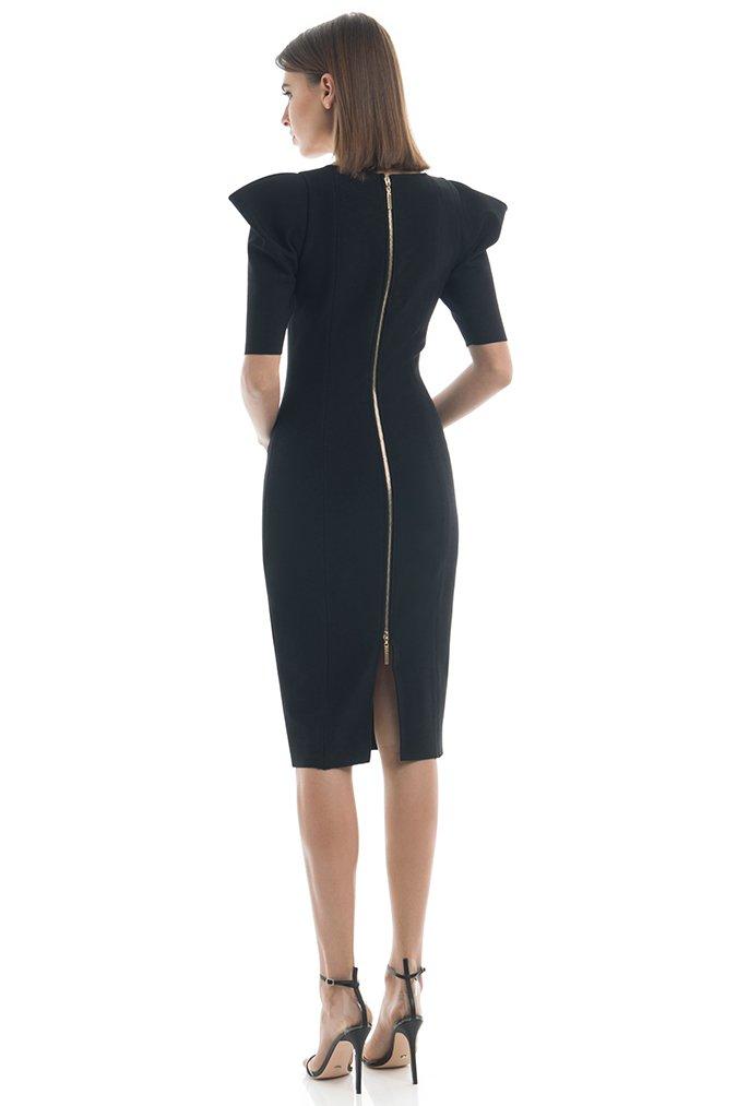 Summer Dress Women Sexy Half Sleeve Knee Length Black Bandage Dress 19 Ladies Designer Elegant Party Dress 3
