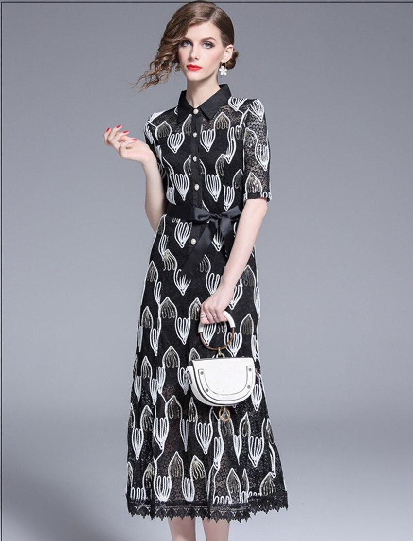 HAMALIEL Women Lace Midi Dress Luxury Summer Half Sleeve Patchwork Hollow Out Floral Dress Vintage Sequine Embroidery Long Dress 3