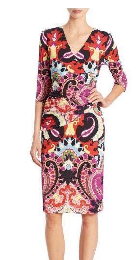 The new women's fashion print V collar half sleeve stretch knit Silk Jersey Slim dress 2