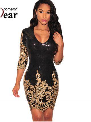 Comeondear Women Bodycon Dress V-neck Half Sleeve Fashion Sequin Dress Party Vestidos Verano Silver Gold Sexy Club Wear RB80349