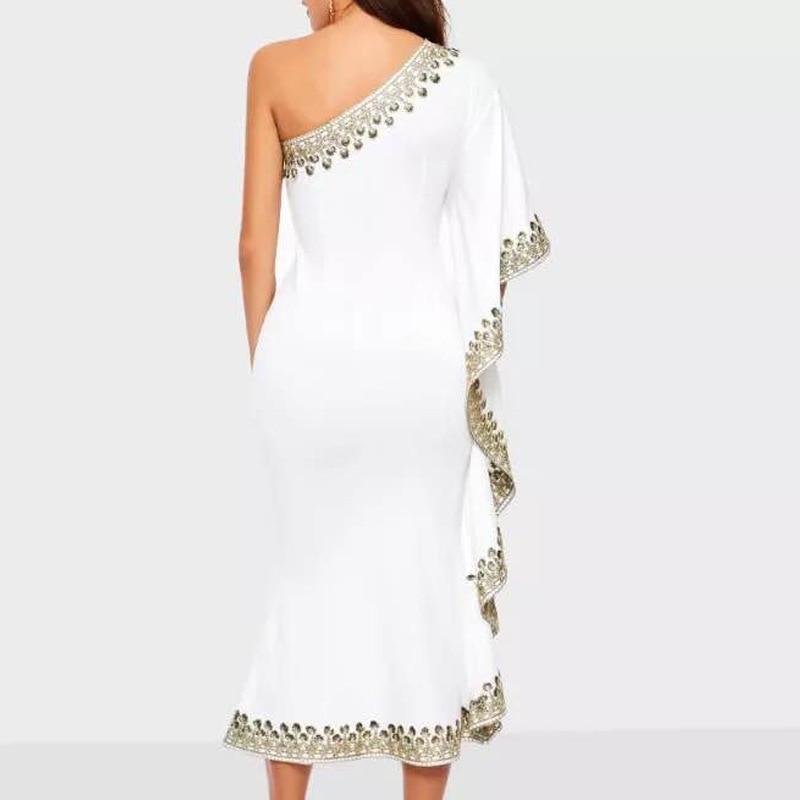 CHICEVER Lace Ball Gown Dress Women Asymmetrical Collar Off Shoulder Half Sleeve Ruffles Slim Female Dresses Fashion New Summer 2
