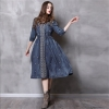 Vintage Autumn Dress Women 18 Denim Summer Dress V-Neck A-Line Half Sleeve Embroidery Women Dresses Vestidos Femininos 82110