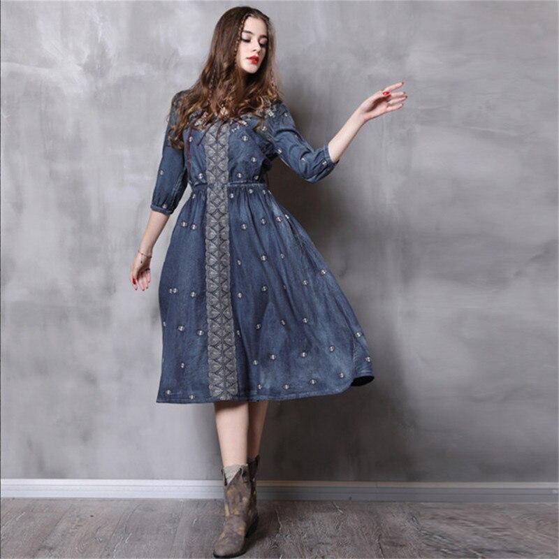 Vintage Autumn Dress Women 18 Denim Summer Dress V-Neck A-Line Half Sleeve Embroidery Women Dresses Vestidos Femininos 82110