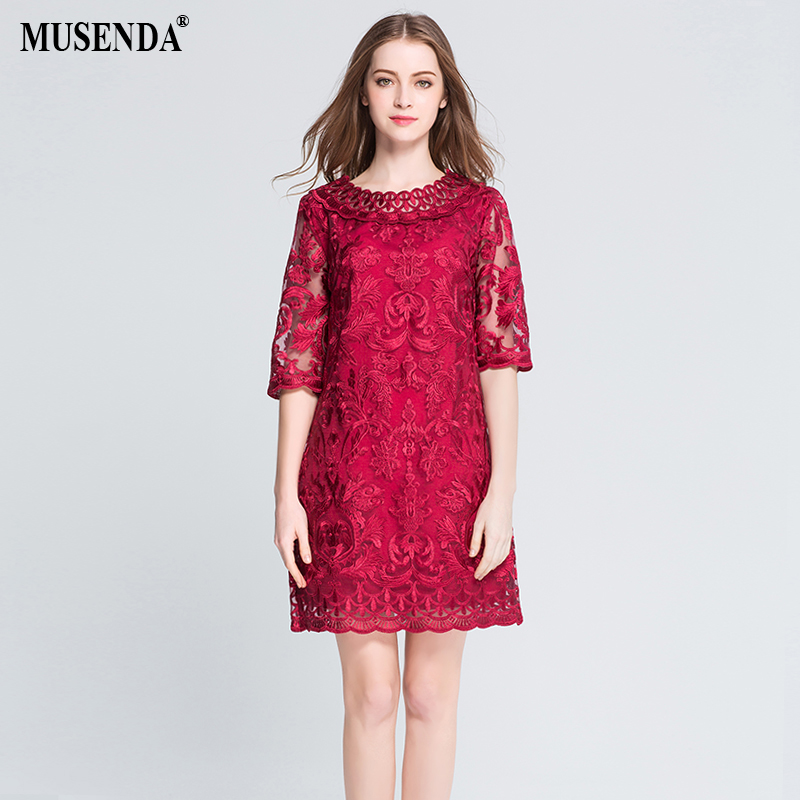 MUSENDA Plus Size Women Hollow Out Lace Embrodery Half Sleeve Red Dress 18 Summer Sundress Lady Casual Fashion Party Dresses 1