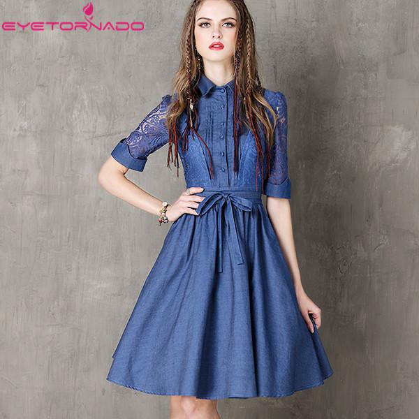 Women Hollow Out Half Sleeve Denim Dress Turn-Down Collar Blue Casual Work Dresses Short Jeans Dress Blue Vestido with Belt