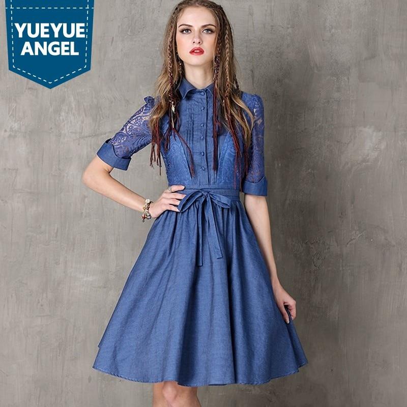 Vintage Hollow Out Embroidery Women Fashion High Street Half Sleeve Dress Jean Denim Female Lapel Single Breasted Slim Vestidos 1