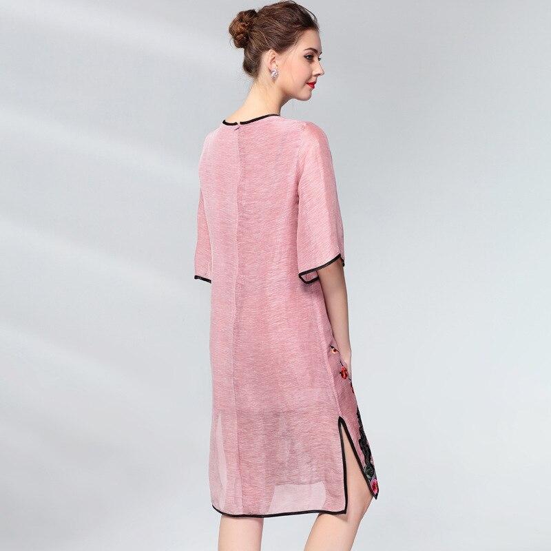 Vintage Dress Women Plus Size Silk Linen Embroidery Spring Summer Fashion V-neck Half sleeve Side split Loose A Line Dress 3