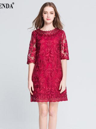 MUSENDA Plus Size Women Hollow Out Lace Embrodery Half Sleeve Red Dress 18 Summer Sundress Lady Casual Fashion Party Dresses