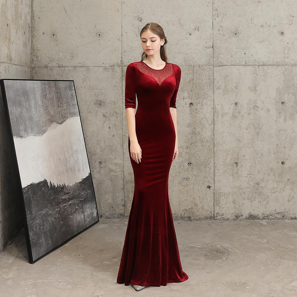 Vintage Red Flannel & Diamond Transparent Mesh O Neck Half Sleeve Dress Sexy Women Mermaid Night Club Party Long Dresses Elegant