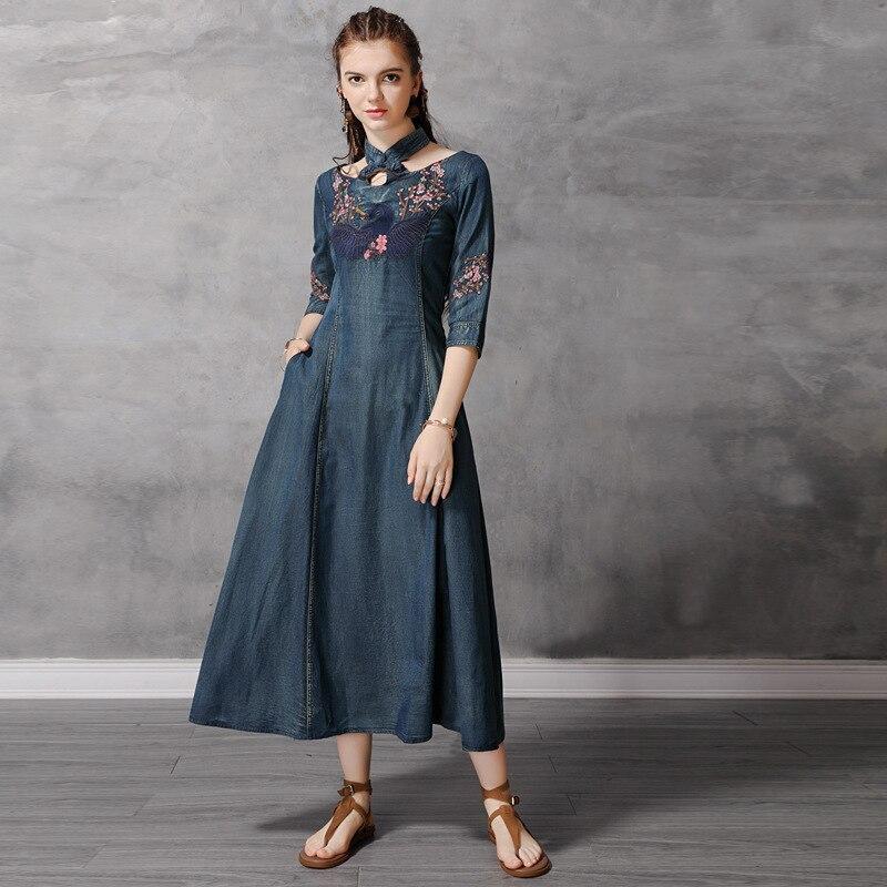 Autumn Denim Dress Women Half Sleeve Floral Embroidery Vintage Jeans Dresses Ladies Stand Collar A Line Long Retro Denim Dresses 1