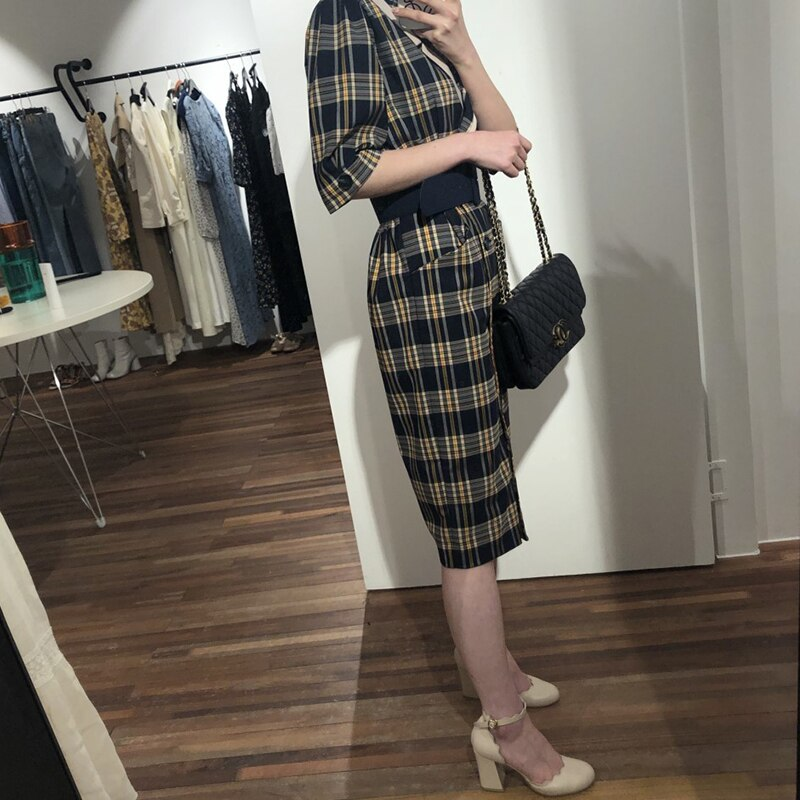 SHENGPALAE  Turn-down Collar Half Sleeve Korean Fashion Slim Waist With Belt Patchwork Color Women Korean Dress Tide FN7751 3