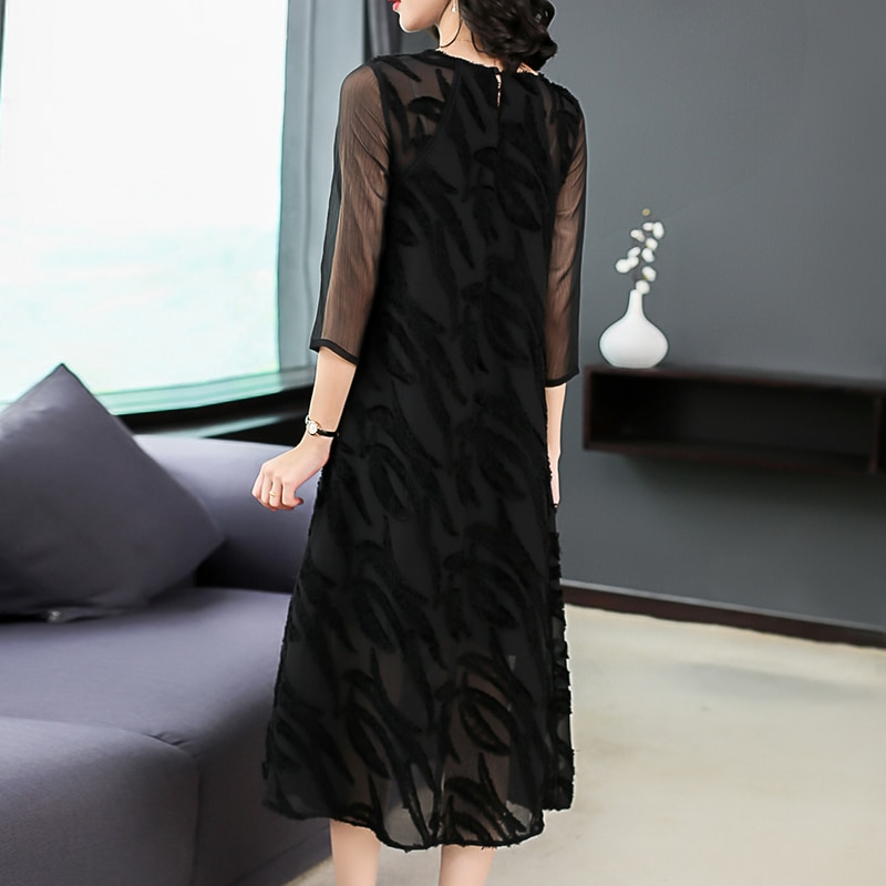 Plus Size Women Clothing Autumn Dresses Fashion Back Lace Casual Costume Lady Half Sleeves A-Line Dress Office Lady Dress 2