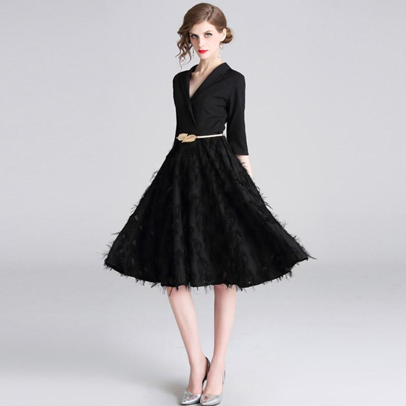 Feathers Patchwork Black A-line Office Dress 19 Spring Women Half Sleeve Notched Formal Dress Female Tassel Dress With Belt 1