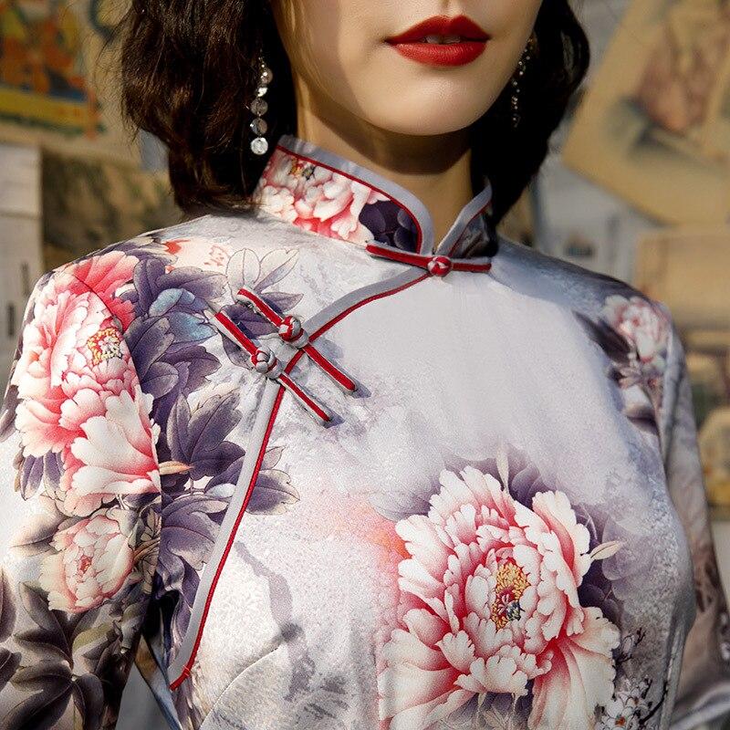 New Arrival Plus Size 4XL Autumn Winter Vintage Half Sleeve Cheongsam Sexy Women Formal Long Dress Print Flower Rayon Qipao 3