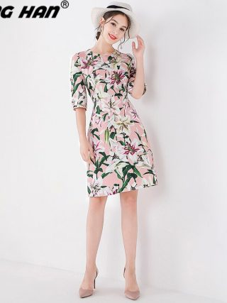 LING HAN New Fashion Autumn Flower Buttons Beads Half Sleeve Dress For Women Floral Print Elegant Vintage Dresses Vestidos