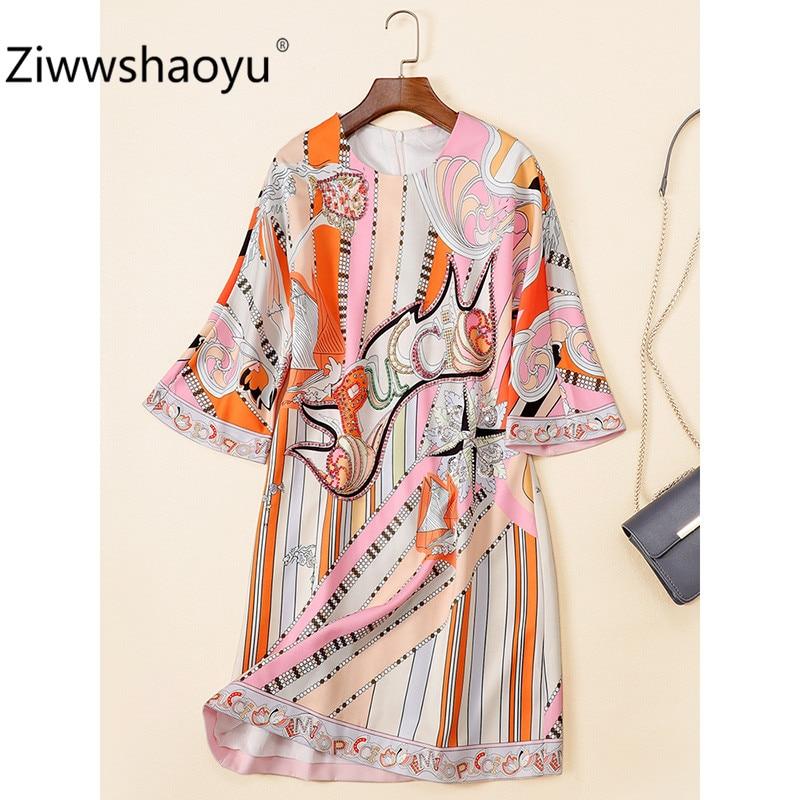 Ziwwshaoyu 19 New Autumn Geometric Print Loose Dress Women's Fashion Half Sleeve Crystal Beading luxury Dresses 2