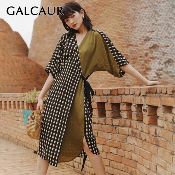 GALCAUR Vintage Plaid Women Dress High Waist V Neck Half Sleeve Lace Up Asymmetrical Female Dresses 19 Fashion Summer Tide