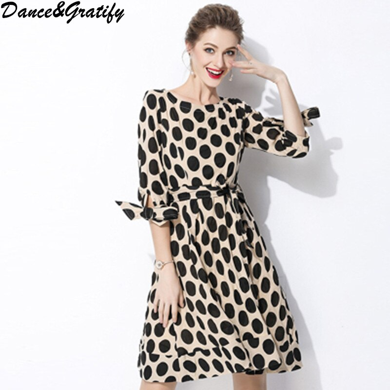 New 18 Women Classic Polka Dot Dresses Plus Size Casual Bowtie Half Sleeve Office Work Dress 1