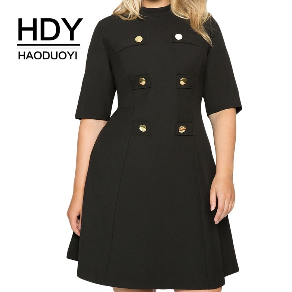 HDY Haoduoyi Large Size Metal Double-Breasted Decorative Half-High Collar Five-Point Sleeves Waist A-Line Dress 1