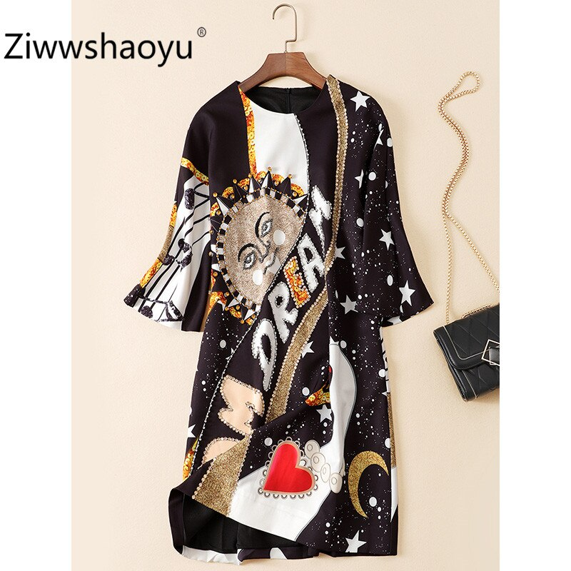 Ziwwshaoyu Fashion Autumn Winter Brand Diamond Sequin Angel Flower Print Half Sleeve Loose Dresses Women's 2