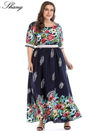 Floral Boho Dresses For Women Plus Size 5xl Summer O Neck Half Sleeve High Waist Long Chiffon Dress Tunic Casual Beach Dresses