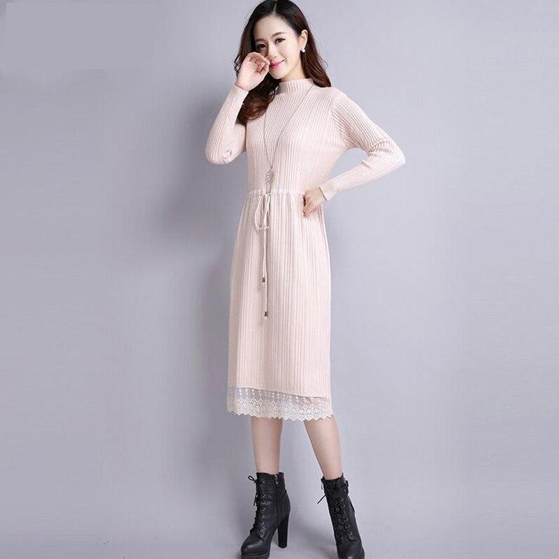 18 Women Autumn Winter Sweater Dress new Slim half Turtleneck Long Sleeve Sexy Lady Bodycon Robe Lace Knitted Dresses Vestidos 3