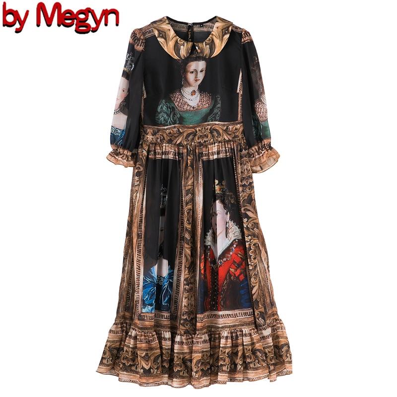 spring summer high fashion dress runway party women dress queen print women fashion new year dress designer brand dress 2