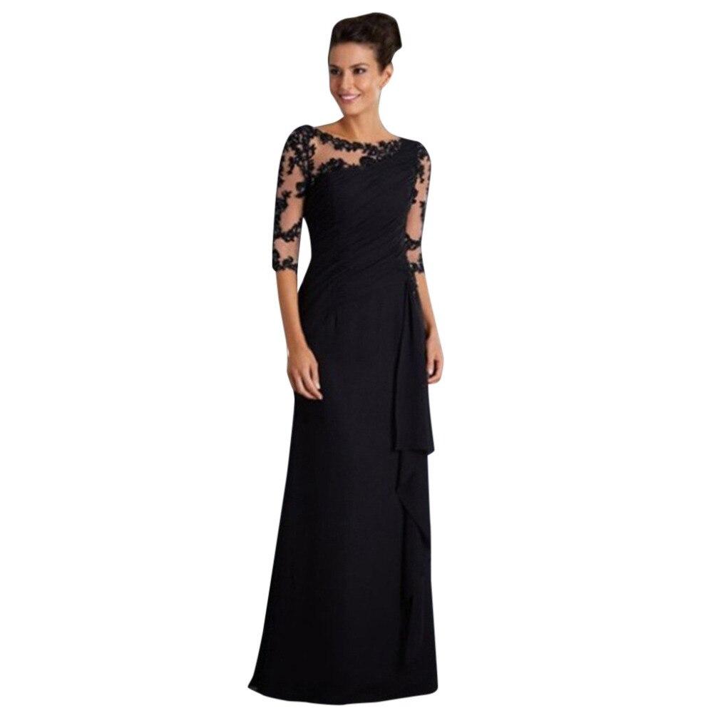 19 Women maxi dress Ladies Long Dress Lace Stitching Round Neck half Sleeve Dress Formal Dress