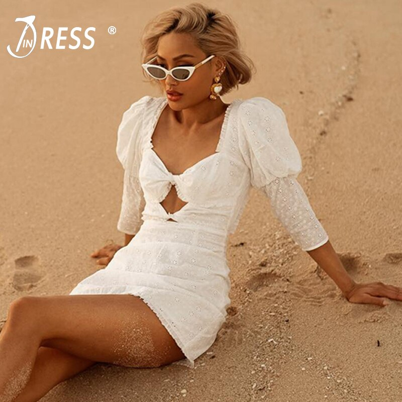 INDRESSME Women Sexy Hollow Out Half Sleeve Beach Dress Bodycon Mini Dress Backless Party Club Dress Vestidos 19 New Summer 1
