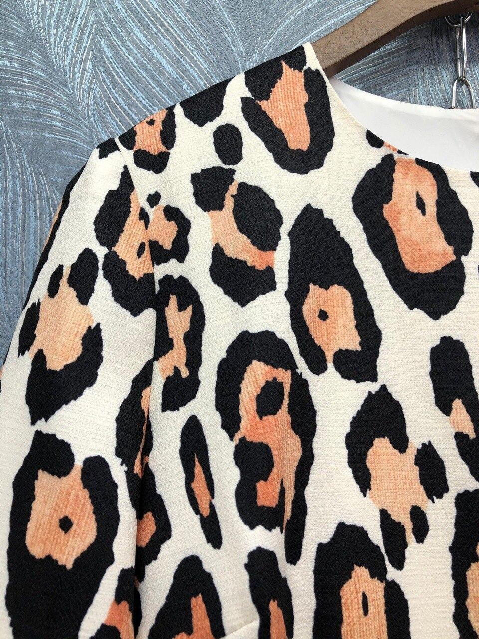 Europe&America women sexy leopard dress  spring summer runways half sleeve dress B236 3