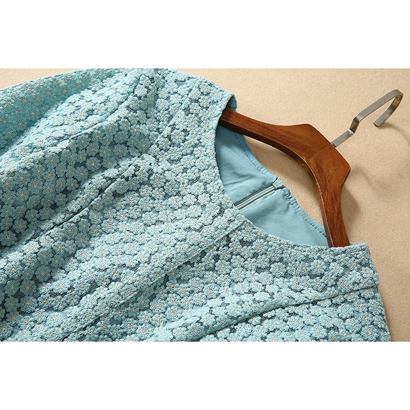 HIGH QUALITY Newest Fashion 19 Designer Runway Dress Women's Half Sleeve Embroidery Dress 3