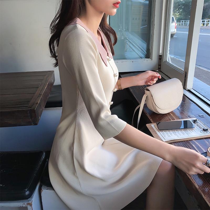 Mishow 19 Autumn Women's Knitted Dress Korean Solid Sweety Slim Fit Half Sleeve Mid-length Dresses Elegant Vestidos MX19C1308 1