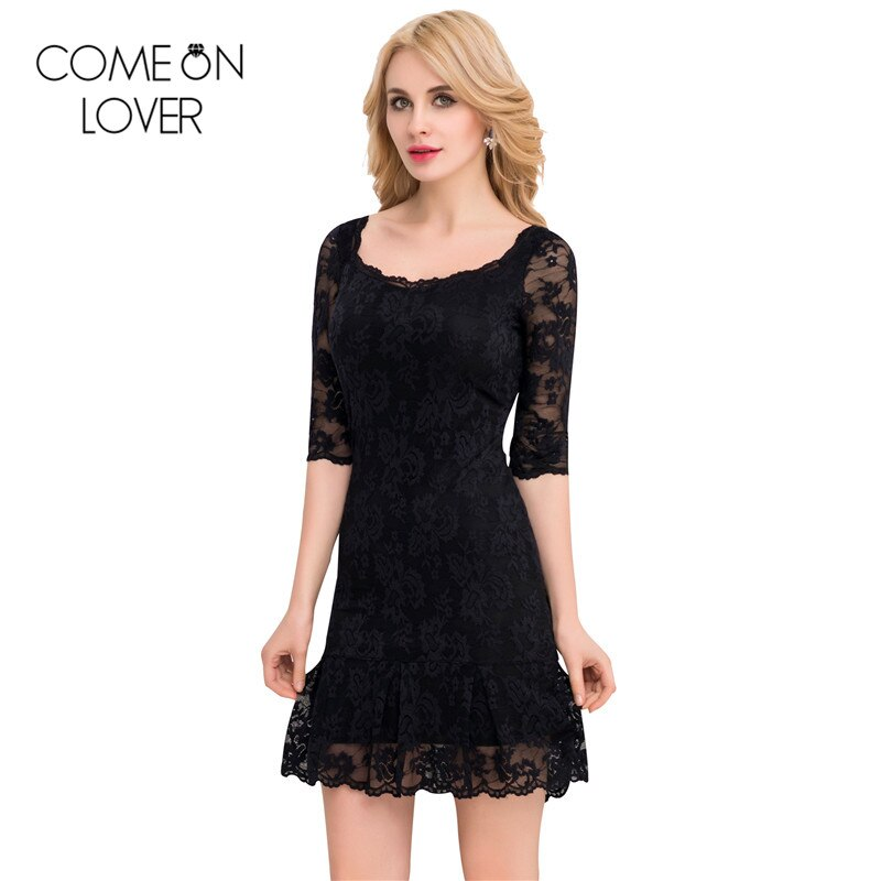 Comeonlover 18 Fashion Summer Dresses VE1046 Back See Through Women s Dresses Woman Half Sleeve Lace Mesh Dresses Floral robe 1
