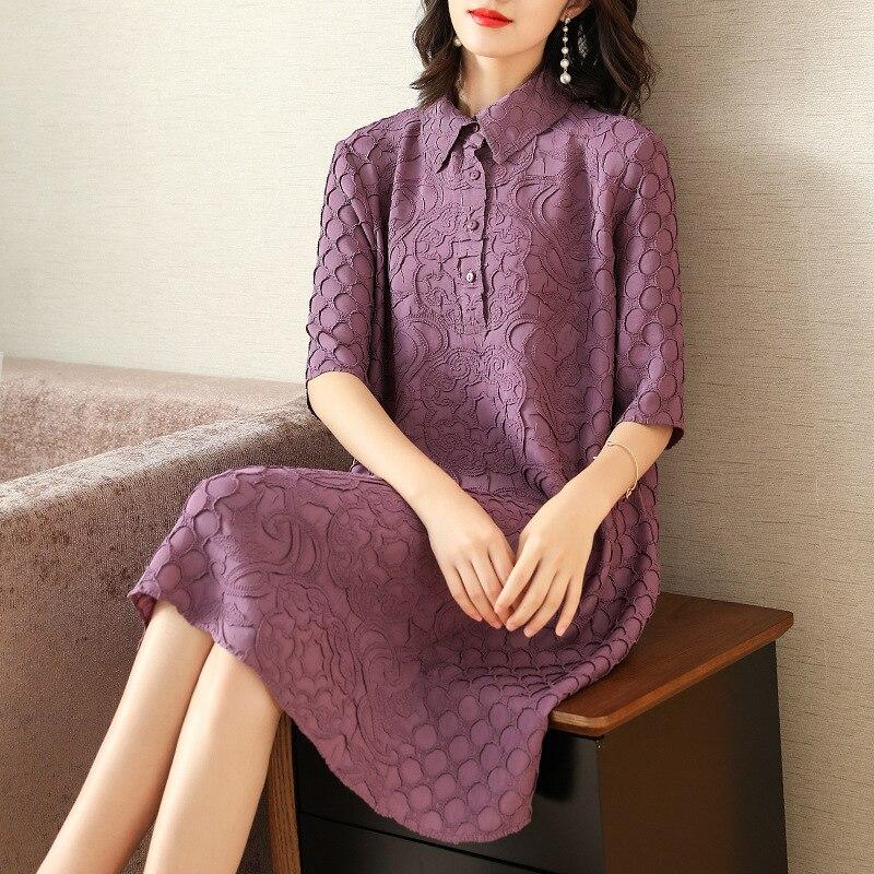 Plus Size Dress Summer Women Loose Elegant Casual Dress New Fashion Turndown Collar Half Sleeves Miyake Pleated Dresses 2