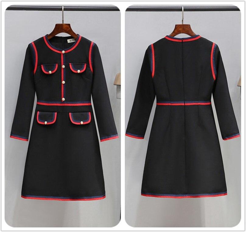 Fashion Designer Women Knitted Dress O-neck Button Half / Wrist Sleeve Runway Sweater Party Dress 2