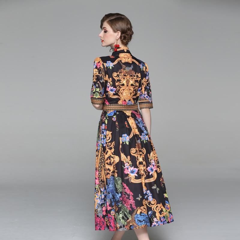 19 Summer Elegant Half Sleeve Dress Women Floral Print Runway Long Dress Fashions Button Diamonds Vintage Midi Dress B9119 2