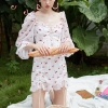 EASYSMALL For Love Lemons Women dress Summer high-end point High Waist Cherry Drawstring Lace Ruffle Lantern Sleeve Dresses