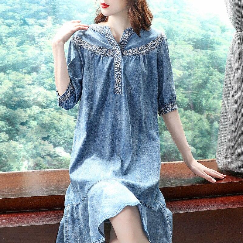 19 autumn new vintage ruffled denim dess women v-neck embroidered half sleeve a-line dress 2