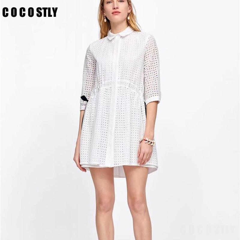 Women Casual Elegant White Shirts Dress 19 Summer Half Sleeve Hollow Out A-Line Dresses Female Summer Party Dress vestidos