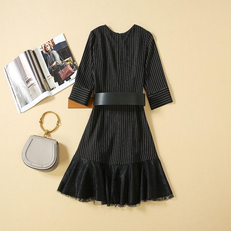 Women Dresses 19 High Quality Newest Designer Runway O-Neck Half Sleeve Patchwork Lace Elegant Dress Casual Dresses NP0762J 2