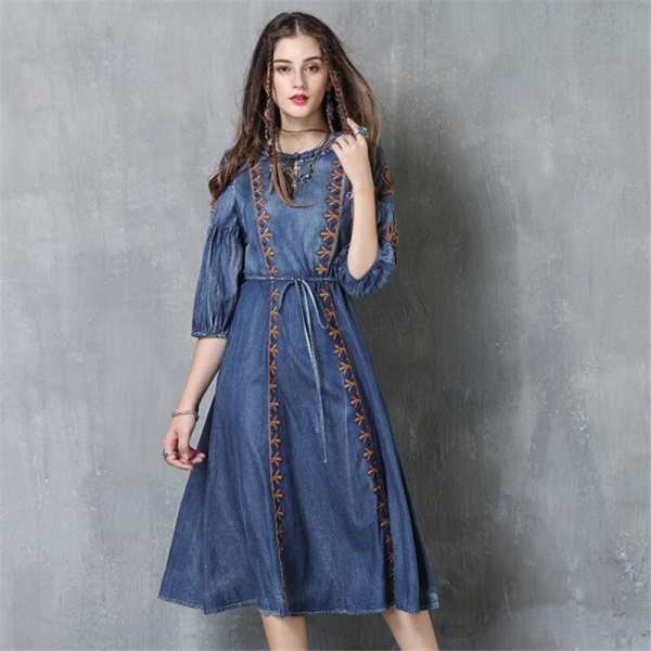 Autumn Denim Dress Clothing Women Jeans Lantern Half Sleeve Dress Vintage Spring Slim Cowboy Casual Long Dresses Blue A3819