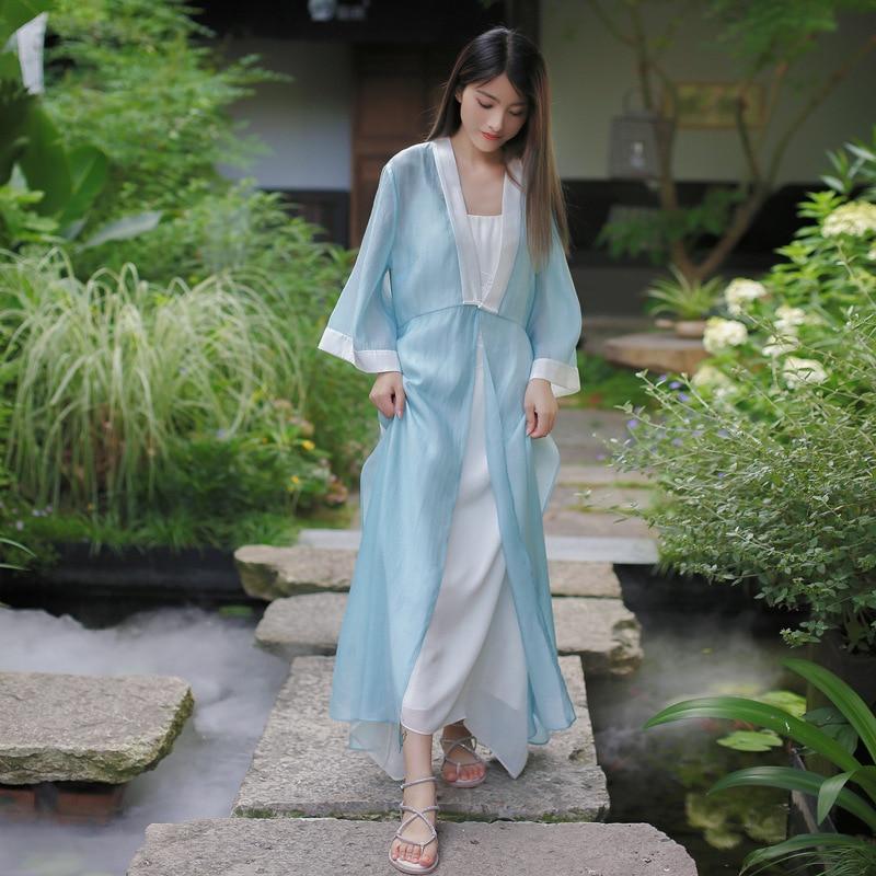 19 Autumn Chinese Retro Style Big V Collar Women White Blue Straight Dress Tea Suit Half Flare Sleeve Loose Dress Hanfu 1