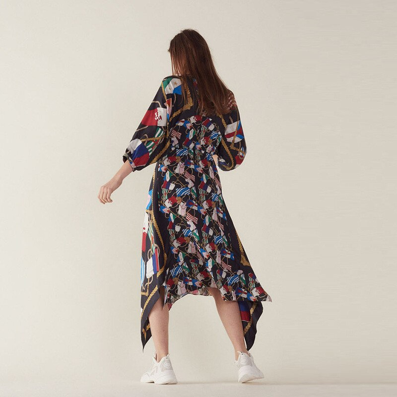 Summer Print Women's Holiday Dress Runway Irregular Sexy V Neck Half Sleeve Ladies Party Midi Dresses 19 Clothes 3