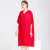 Half Length Sleeves Knee-length Pleated Dress Women Crinkled Office Lady Straight Solid Half Length Sleeves Knee-length Pleated Dress