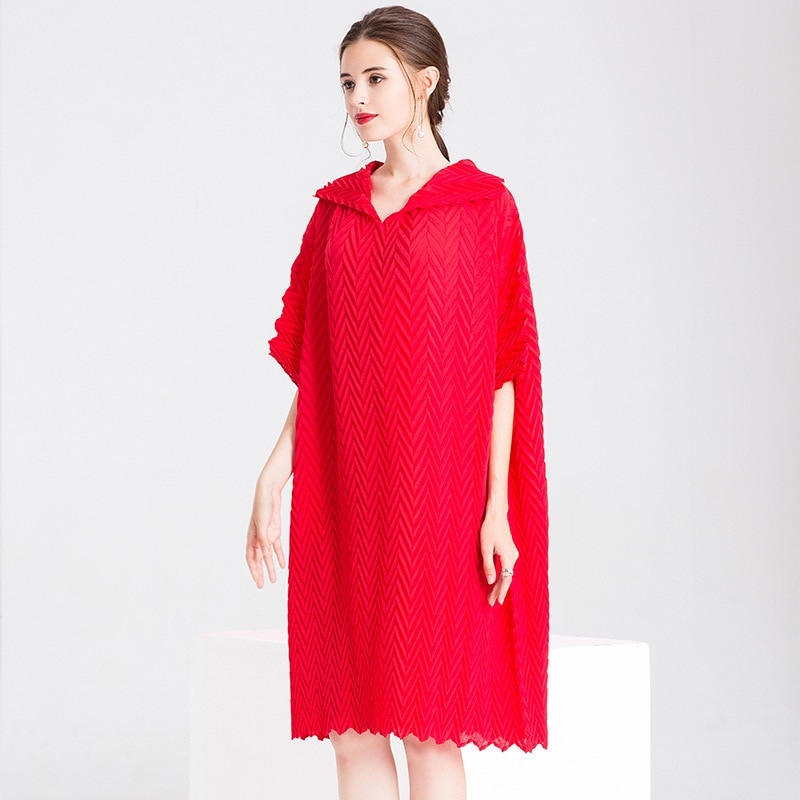 Women Crinkled Office Lady Straight Solid Half Length Sleeves Knee-length Pleated Dress 2