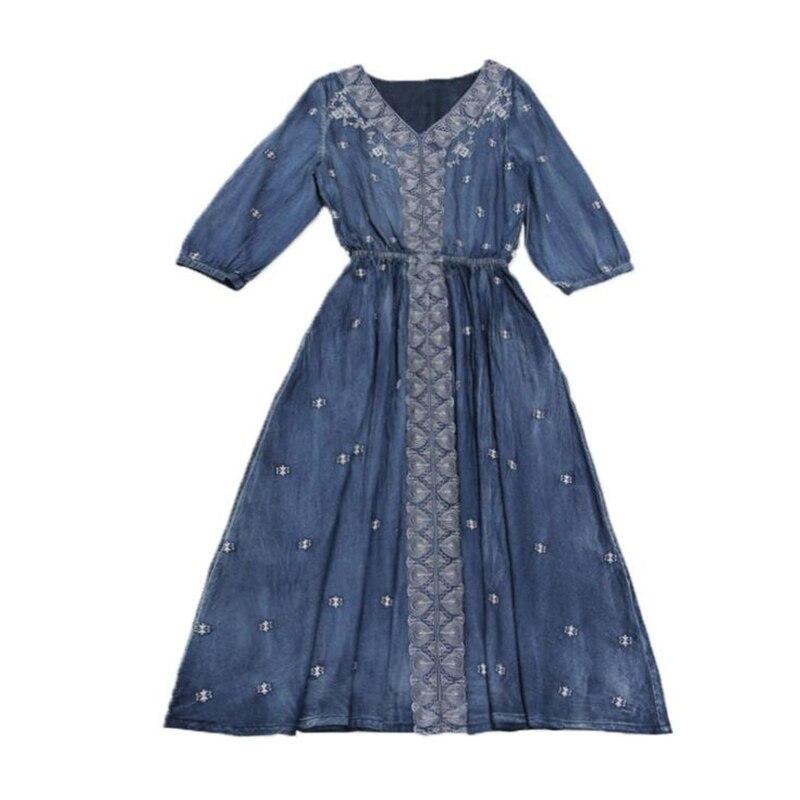 Women Dress Autumn New Vintage Denim Long Dresses V-Neck Half sleeve Embroidery A-line Casual Dress Vestido Vestidos Femininos 3