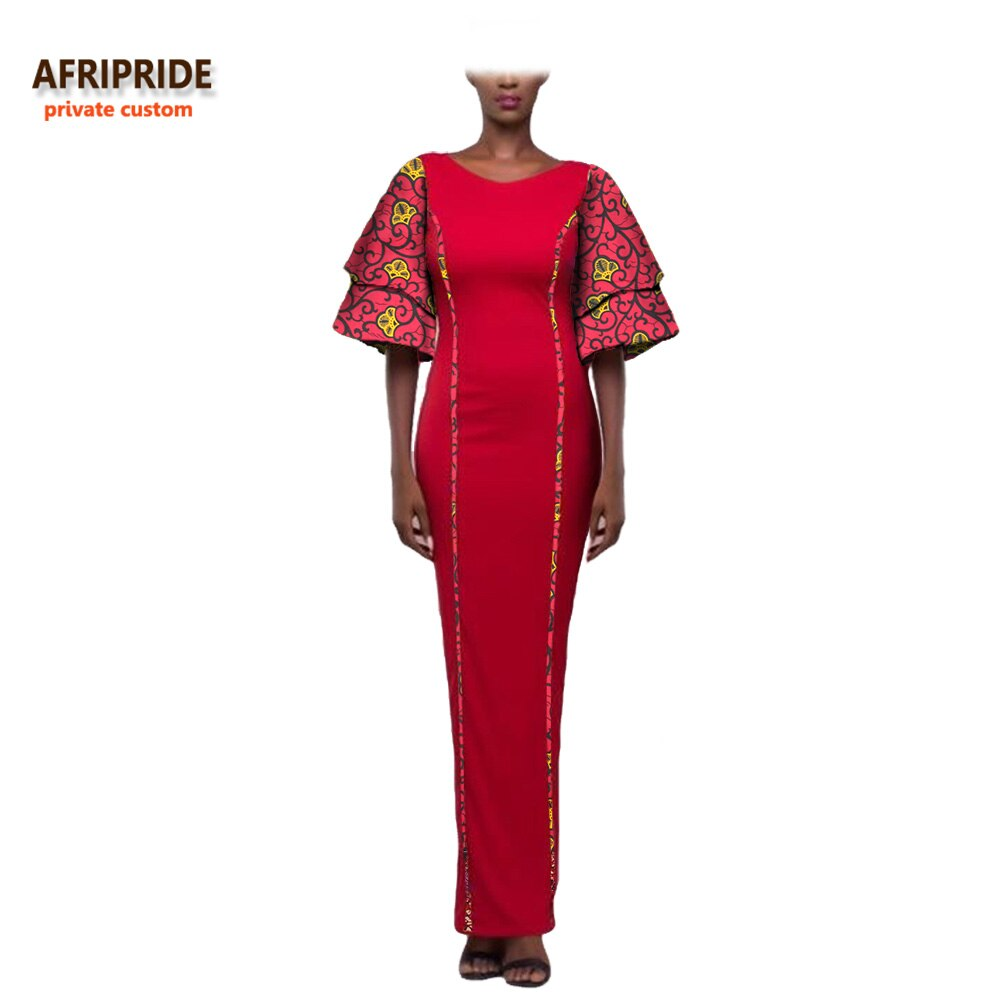 19 african style autumn dress for women AFRIPRIDE private custom wide half sleeve ankle length dress 100% batik cotton A722574 3