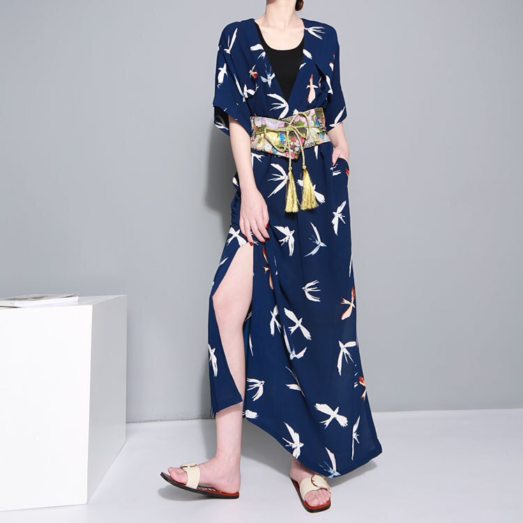 Tide Fashion Summer Pattern Printed Dress Sashes Casual Long Loose Size Shirt Dress Fashion Tide V-Neck Half Sleeve Dress 2